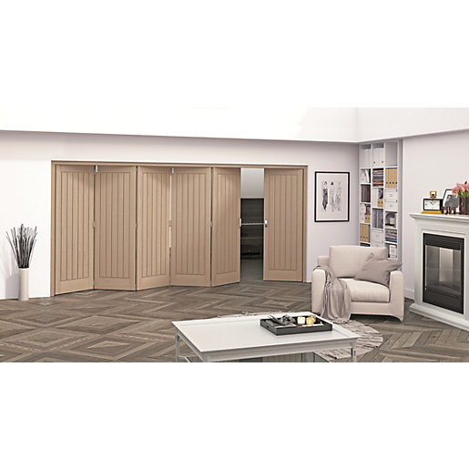 Jeld-Wen Geneva Oak Cottage 5 Panel Internal Bi-Fold