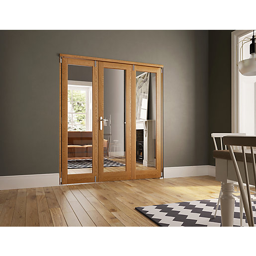 Wickes Newbury Fully Glazed Oak 1 Lite Internal Bi Fold 3 Door Set