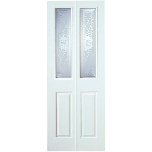 Wickes Stirling Internal White Grained Glazed Moulded 4 Panel Bi Fold Door