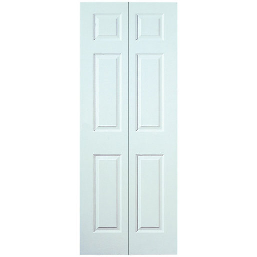Wickes Woburn Internal White Grained Moulded 6 Panel Bi Fold Door