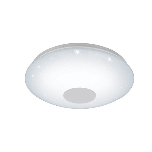 Wickes Kitchen Pendant Lights: Eglo Voltago 2 LED White Crystal Effect Round Flush