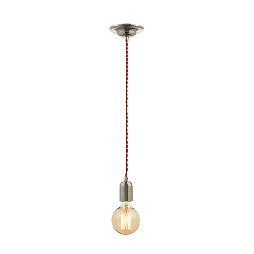 Inlight Twisted Nickel Red Dimmable Cable Pendant Light