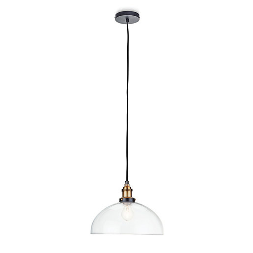 philips manor gloss clear vintage pendant lamp 40w e27 wickes co uk