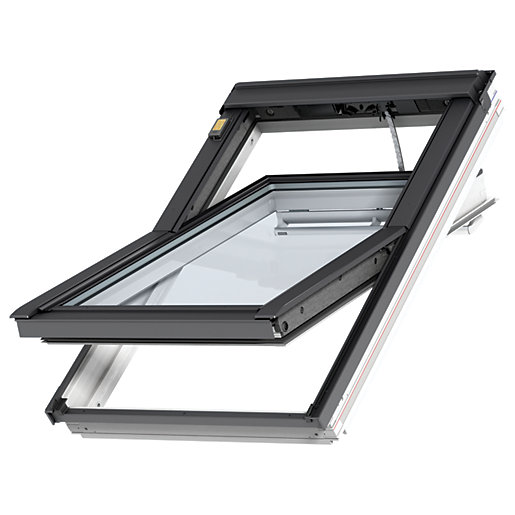 Velux integra white painted electric centre pivot roof for Prezzo velux integra