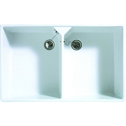 2 bowl kitchen ceramic white sink becomes available again  mouse over image for a closer look  wickes butler 2 bowl kitchen ceramic white sink   wickes co uk  rh   wickes co uk