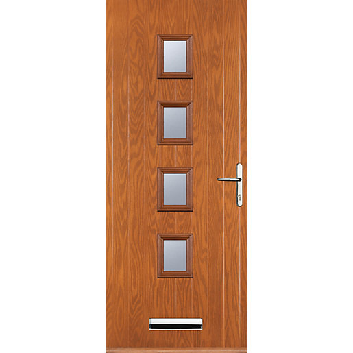 Euramax 4 Square Oak Left Hand Composite Door