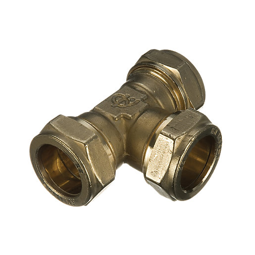 Wickes Brass Compression Equal Tee - 15mm Pack