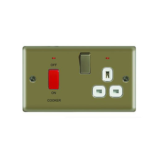 Wickes 45A Cooker Switch & 13A Socket Pearl
