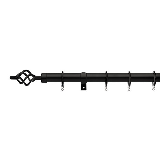 Universal Curtain Pole with Cage Finials - Black