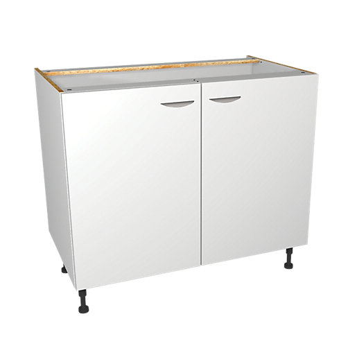 Wickes Dakota White Matt Slab Base Unit - 1000mm | Wickes.co.uk