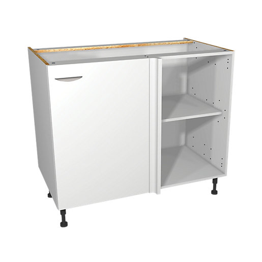 Wickes Dakota White Matt Slab Corner Base Unit