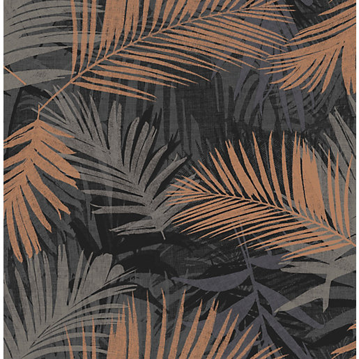 Boutique Jungle Glam Black/Gold Decorative Wallpaper - 10m
