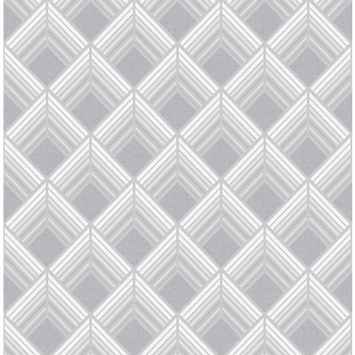 Boutique Trifina Geo Silver Decorative Wallpaper - 10m