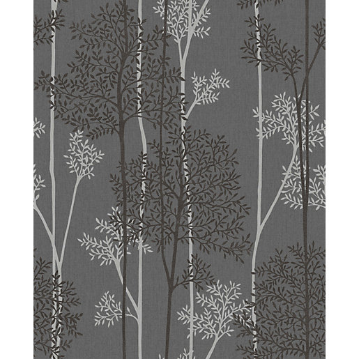 Graham & Brown Superfresco Easy Eternal Charcoal and Silver Glitter Effect  Wallpaper -10m