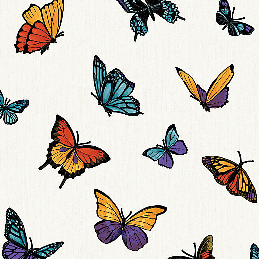 Julien Macdonald Flutterby Decorative Wallpaper Multi - 10m