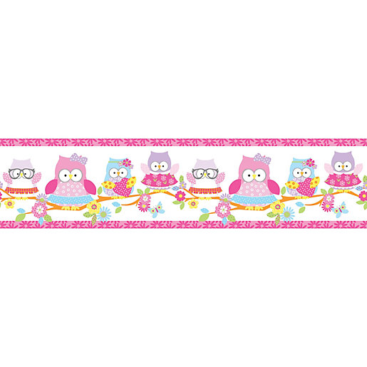 Olive The Owl Pink Decorative Border - 5m