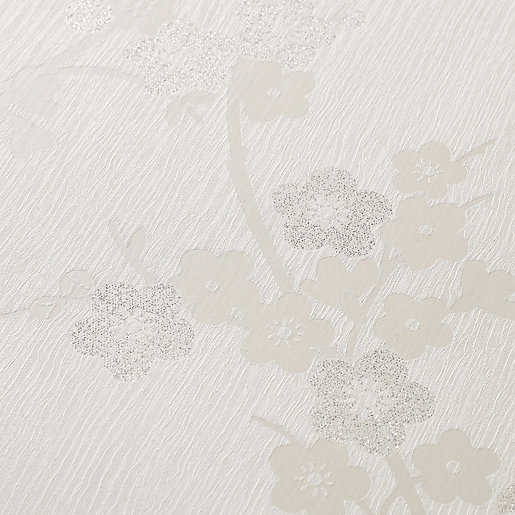 Superfresco Colour Cherry Blossom Decorative Wallpaper White -