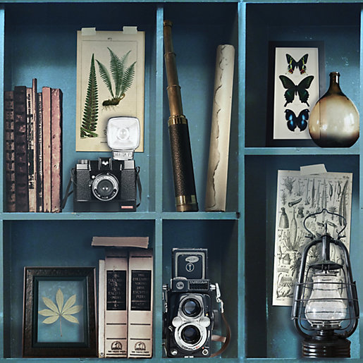 Superfresco Easy Curiosite Biblio Bleu Decorative Wallpaper -