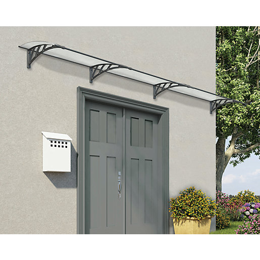 Entrance Canopies Product : Palram neo twinwall polycarbonate door canopy grey