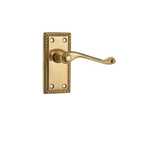 Mouse over image for a closer look.  sc 1 st  Wickes & Wickes Cheshire Georgian Scroll Latch Door Handle - Polished Brass 1 ...