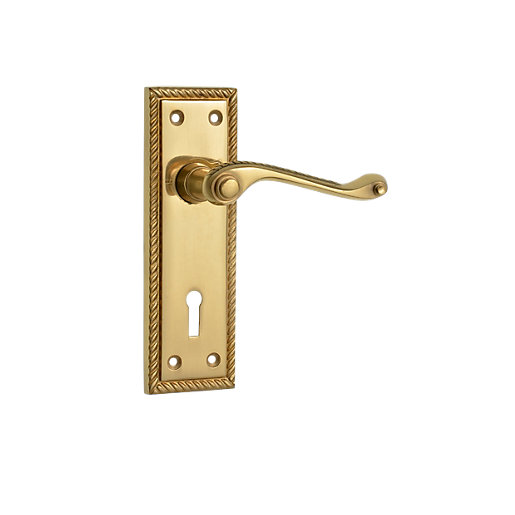 Wickes cheshire georgian scroll locking door handle - Contractor pack interior door knobs ...