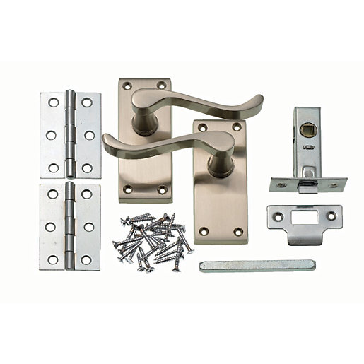 Mouse over image for a closer look.  sc 1 st  Wickes & Wickes York Victorian Scroll Latch Door Handle Set - Satin Nickel ...