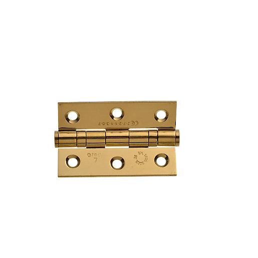 Wickes Grade 7 Fire Rated Ball Bearing Hinge Brass 75mm