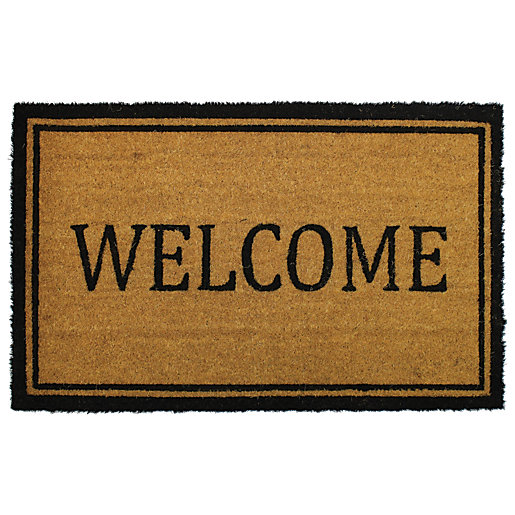 Natural Welcome Design Coir Doormat 50 x 80
