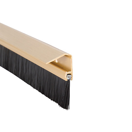 Wickes Concealed Fixing Door Brush Draught Excluder Gold