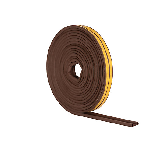 Wickes P Profile Rubber Draught Seal Brown -
