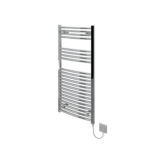 Kudox Curved Electric Towel Radiator - Chrome 500