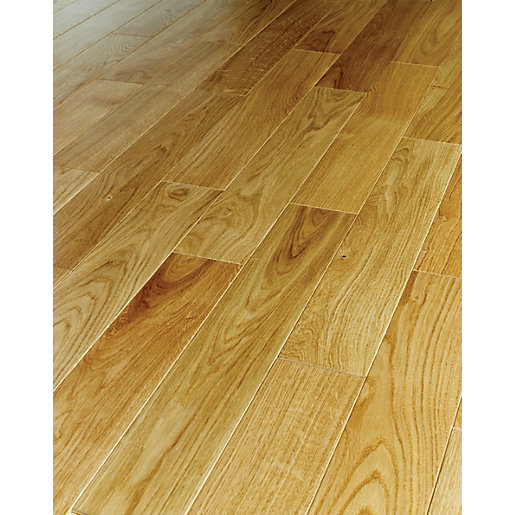 Bon Wickes Herringbone Natural Oak Real Wood Top Layer Engineered Wood Flooring