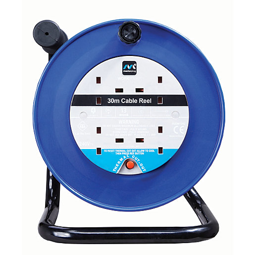 Wind Up Extension Lead : Masterplug socket thermal cut out open cable reel blue