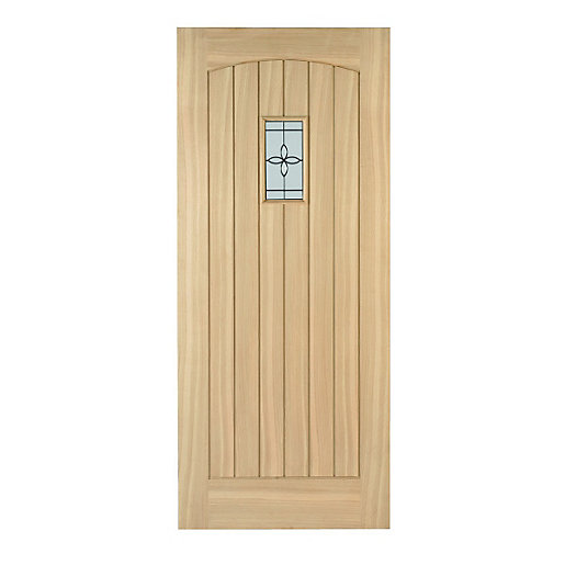 detailed look 3a2b1 20e9a Wickes Croft External Cottage Oak Door Glazed