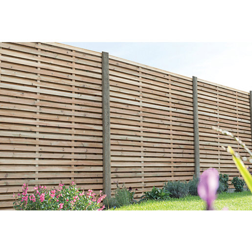 Forest Garden Contemporary Double Slatted Fence Panel -