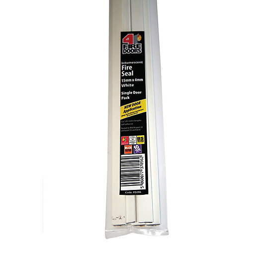 4FireDoors Intumescent Fire Seal - White 15 x