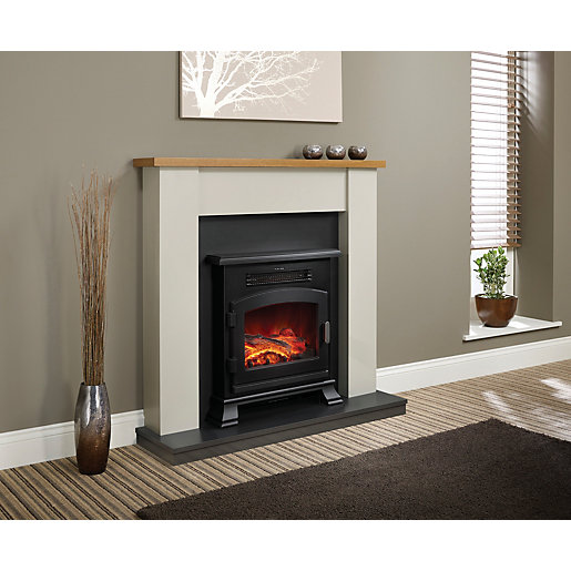 Be Modern Ravensdale Timber Top Electric Fire Suite Wickescouk