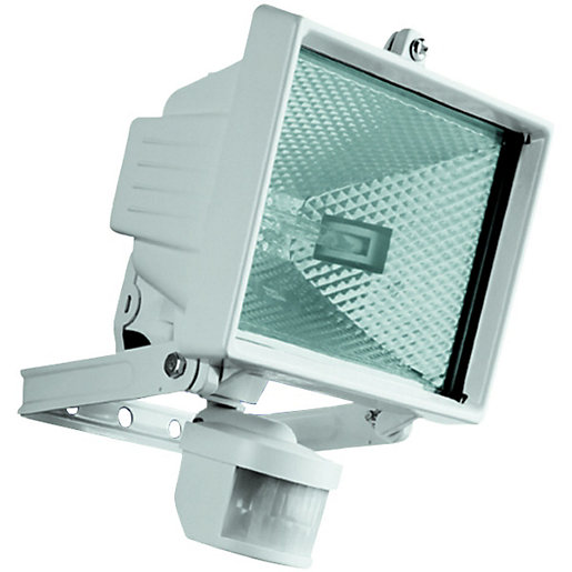 Security lighting lighting decorating interiors wickes wickes halogen white floodlight with pir 400w r7s aloadofball Images
