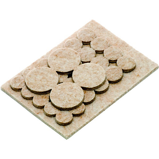 Wickes Assorted Heavy Duty Self Adhesive Felt Pads   Pack Of 31