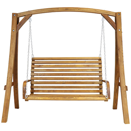 Charles Bentley 3 Seater Wooden Swing Chair Wickes Co Uk