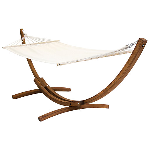 Charles Bentley Wooden Hammock With Arc Stand Cream