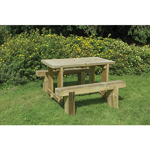 Forest Garden Sleeper Bench and Table Set - 1.2m | Wickes.co.uk