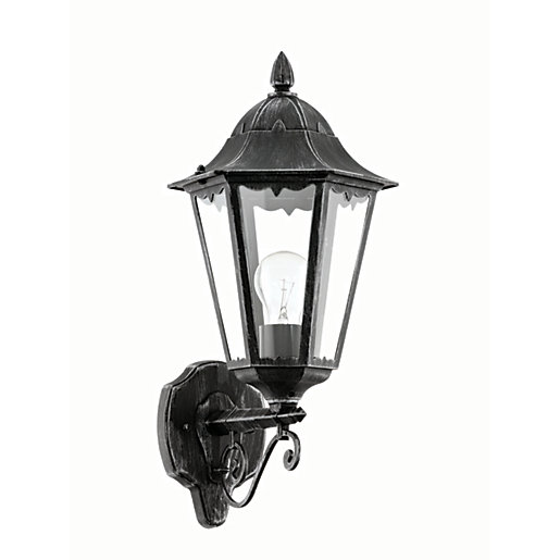 Outdoor Security Lights Wickes: Eglo Navedo Outdoor Black & Silver LED Up Lantern Wall