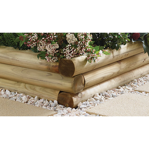 Wickes Shaped Garden Sleepers Natural Timber 108 X 127mm