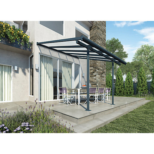 Palram Sierra Polycarbonate Patio Cover Grey 3140 X 2950
