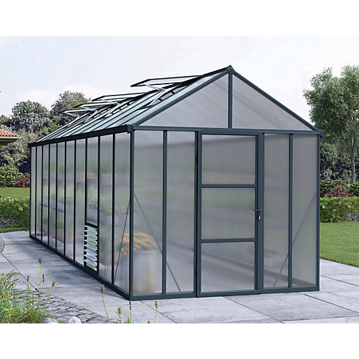 Palram 8 X 20 Ft Glory Anthracite Long Aluminium Apex Greenhouse With Polycarbonate Panels Wickes Co Uk