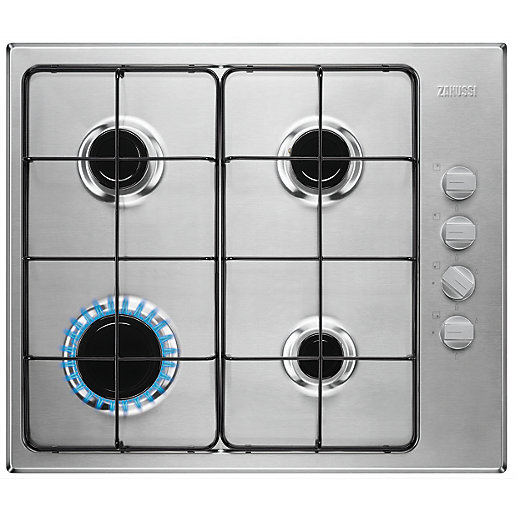 Zanussi 58cm Gas Hob Stainless Steel ZGG67412XA | Wickes.co.uk