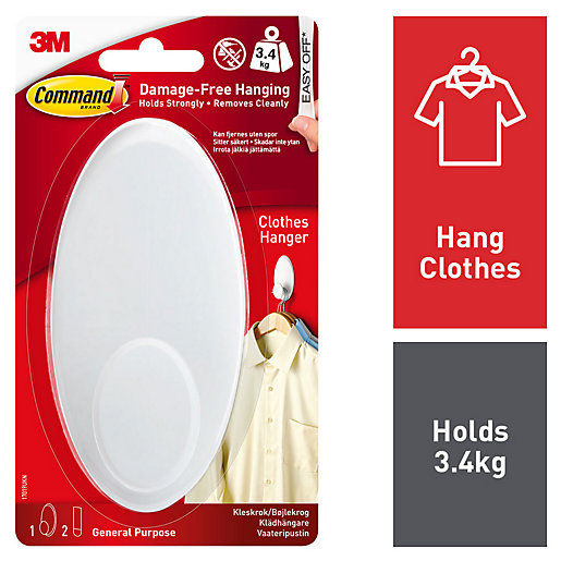 Command Clothes Hanger Hook - White