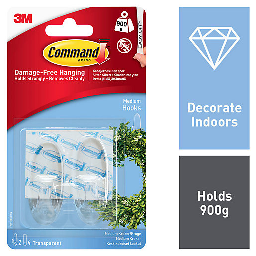 Command Medium Hook - Clear Pack of 2