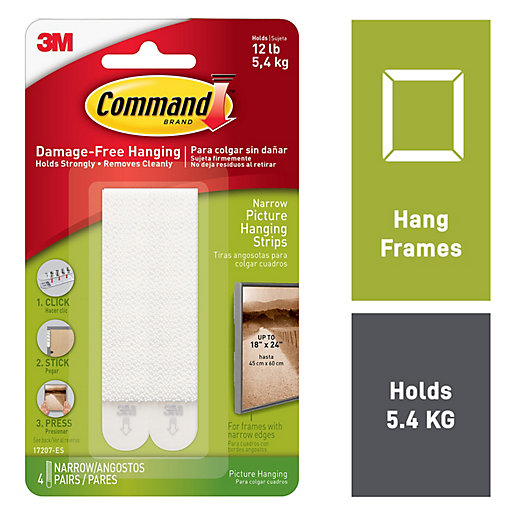 Command Narrow Picture Hanging strips White 4 pairs